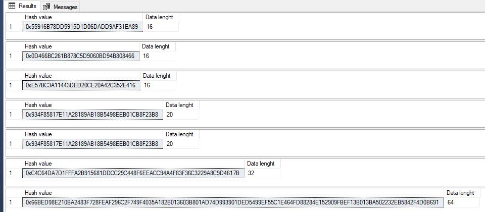 HASHBYTES - Hashing in MS SQL Server