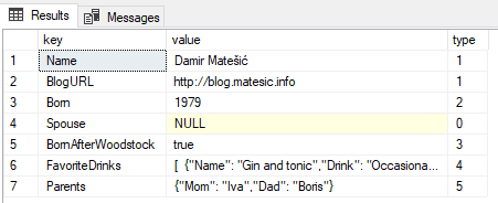 Read JSON data in MS SQL